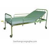 Giường y tế 1 tay quay có đệm, bánh xe, có bô