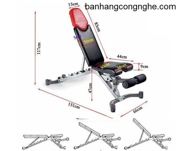 kích thước ghế tập tạ đa năng Bowlex