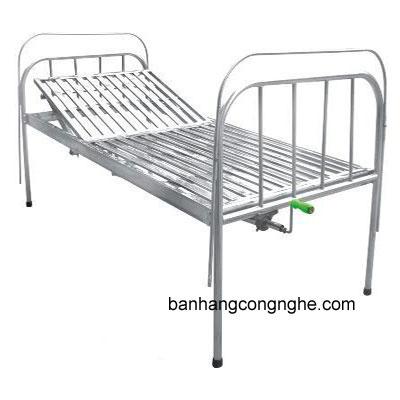 giường y tế Inox 1 tay quay có đệm, bánh xe và bô