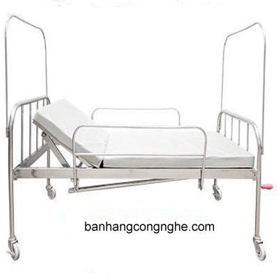 giường Inox 1 tay quay đệm bánh xe có bô