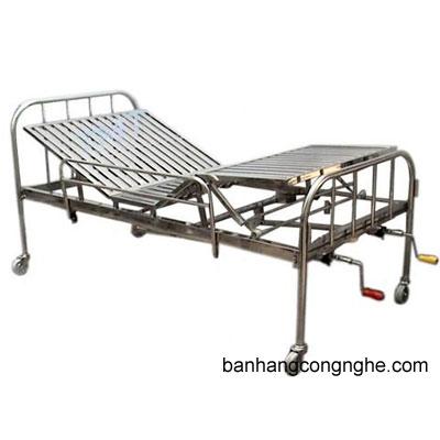 giường inox 2 tay quay có đệm, bánh xe, bô hiện đại